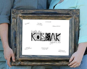 20x30 Wedding GUEST BOOK Extra Large - Alphabet Photography Personalized - UNFRAMED Name Print  by Memories in a Snap