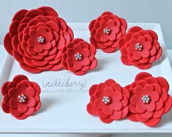 Modern Fondant Flower Cake Set