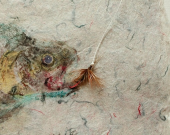 A GOOD CATCH is a Japanese style monotype called Gyotaku, a print made from a real inked fish.