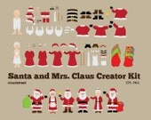 buy 2 get 1 free Santa and Mrs. Claus Creator Kit clipart for personal and commercial use ( christmas santa clip art )