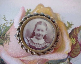 Darling Victorian Sepia Colored Photograph Brooch of Sweet Little Girl
