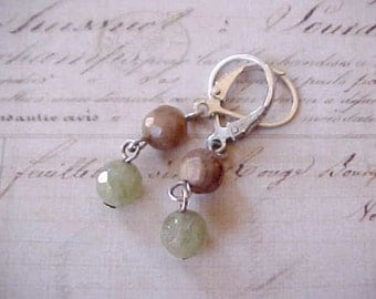 Pretty Little Dangling Sterling Silver Earrings with Aventurine and Flourite Faceted Stones