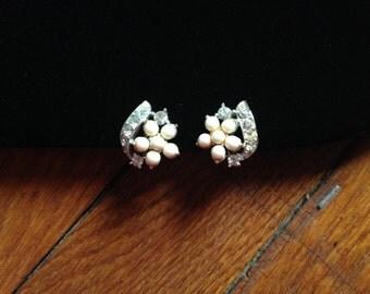 Lisner Pearl Rhinestone Earrings