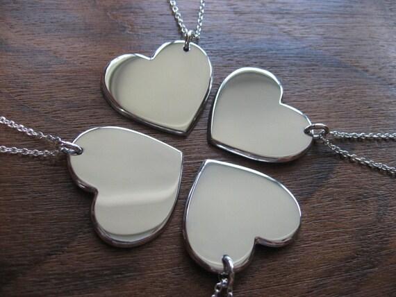 Four Silver Hearts, Best Friends Necklaces Pendants
