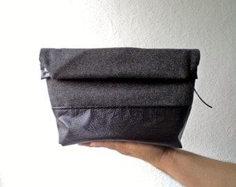 Toiletry bag, roll-up men bag,shaving bag, groomsmens gift, lunch bag, Black Faux leather and wool 100% in slate grey. Mens. Husband gift.