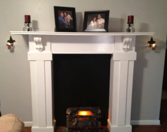 Massive faux Full surrounding Fireplace mantel shelf with corbels