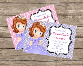 Sophia the First Birthday Party Invitation: Printable 4x6 or 5x7