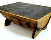 Bourbon Barrel Coffee Table with Storage Space Inside (Square, black, natural oak, brown, green, steel)