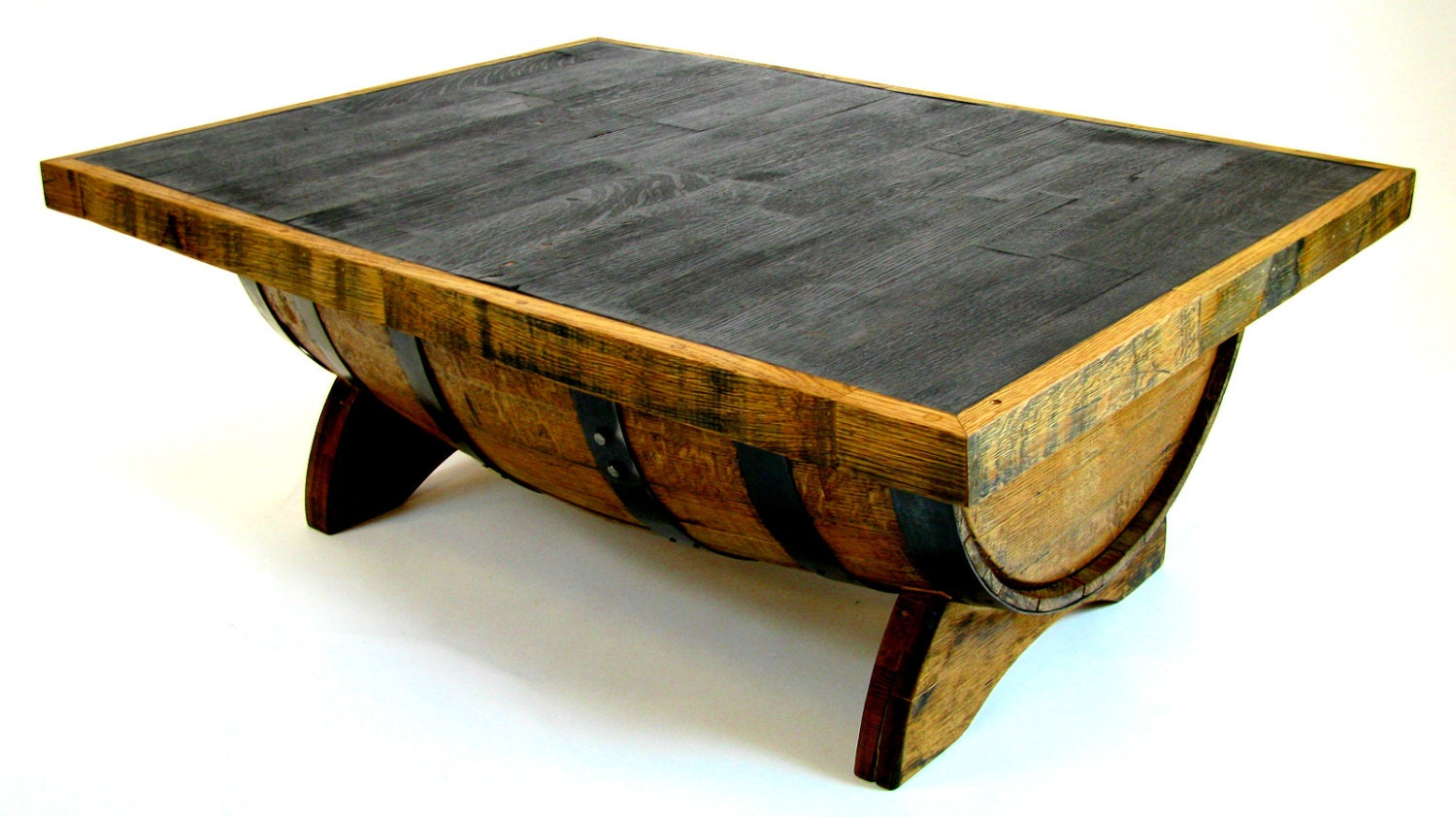 Bourbon Barrel Coffee Table With Storage Space Inside Square