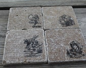 Set of 4 Ailce In Wonderland Tumbled Marble Coasters