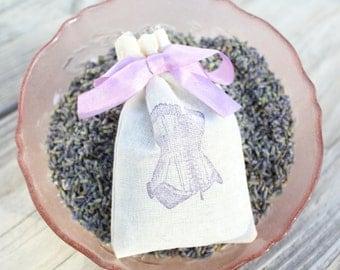 Set of 6 Lavender Corset Sachet Birdesmaid Bridal Shower Thank You Favors