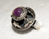 HECHO POISON AMETHYST Sterling Ring Eagle Signed c1950