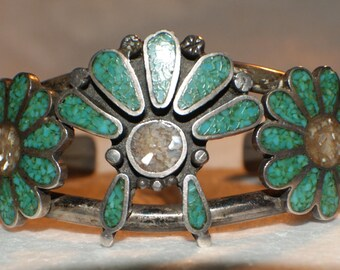 OLD PAWN ZUNI Sterling Cuff Inlay Turquoise Pearl c1950