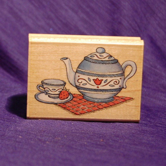 Tea Pot Tea Time Rubber Stamp Wooden Handle By