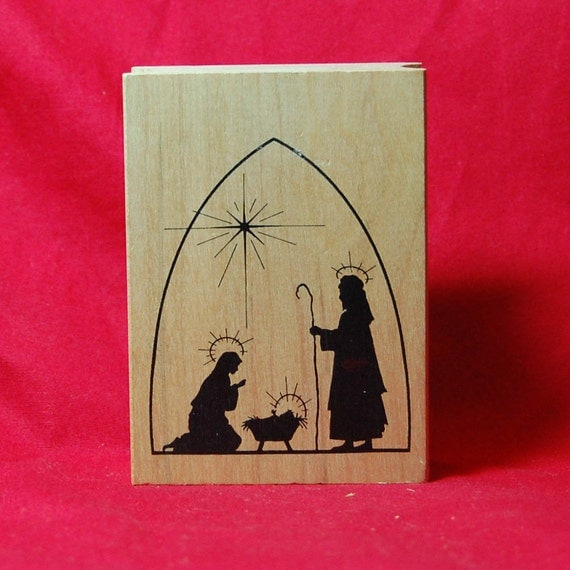 Nativity Silhouette Christmas Rubber Stamp By Stampersdelight