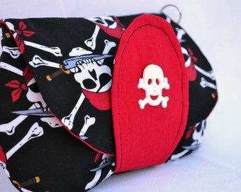 Pirate clutch, skeleton clutch, Halloween clutch, snap clutch, fall clutch, wristlet, clutch bag, clutch purse, clutch wallet, skull clutch