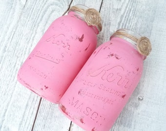 MASON JAR VASES - 2 Shabby Chic Pink Painted Mason Jars turned vases