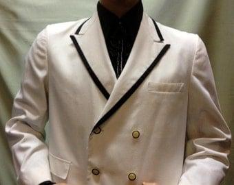 Vintage 50s, 60s, 70s white double breast dinner jacket black trim