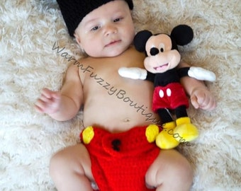 Baby Mickey Mouse Inspired Costume Set Hat Diaper Cover - Crochet Winter Outfit Newborn Boy Girl Halloween  Photo Prop