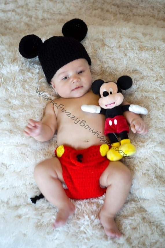 Baby Mickey Mouse Inspired Costume Set Hat Diaper Cover