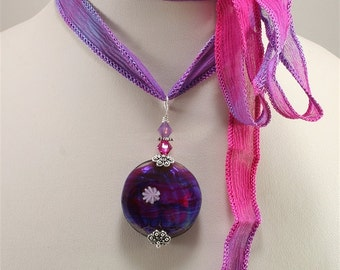 Lampwork Focal Bead Pendant and Silk Ribbon - SRAJD Glass Pink Blue Purple