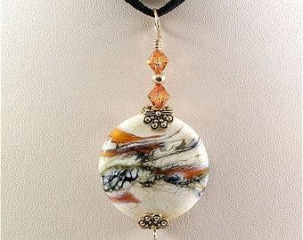 Cream Topaz Black Brown Glass Lampwork Pendant SRAJD
