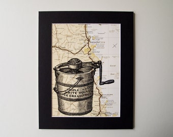 Vintage Ice Cream Bucket Mounted Print on Vintage Queensland Map, 8 X 10""