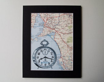 "Vntage Wind Up Alarm Clock Print Mounted on Vintage 8 x 10"" map of South Australia"