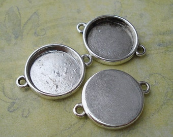 FREE SHIPPING within USA, 20 pcs Antique Silver Round Cabochon Connector, inner tray 15mm