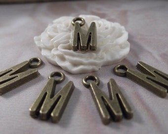 "5 Letter ""M"" Antique Bronze Charms --- Antique Bronze Color"