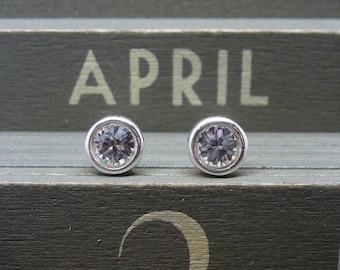 Silver Birthstone Ear Studs - April Solid Sterling Silver 925 Clear Swarovski Crystal Earrings