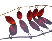 FREE SHIPPING - SUPPLY: 20 Deep Red Glass Charms with Brass Wire - Glass Drops - Red Drops - (4-A3-00003290)