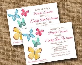Butterfly Bridal Shower Invitation | Watercolor Butterflies Invitation | Printable Christian Wedding | Bridal Scripture | DIY PRINTABLE