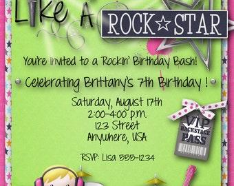 Rock Star Birthday Party Invitation, Girl, Guitar Hero, Rock Band, Pink, Green