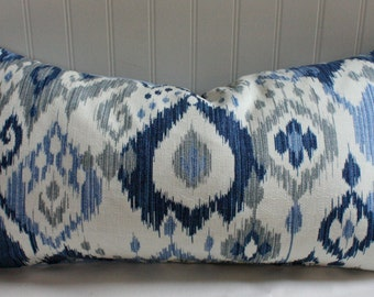 Blue, White and Grey Ikat Pillow Cover in Swavelle Mill both sides