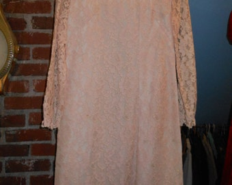 60s Jackie O Pale PINK LACE DRESS Lined Pastel Trend Spring Med Valentines Day Sweetheart
