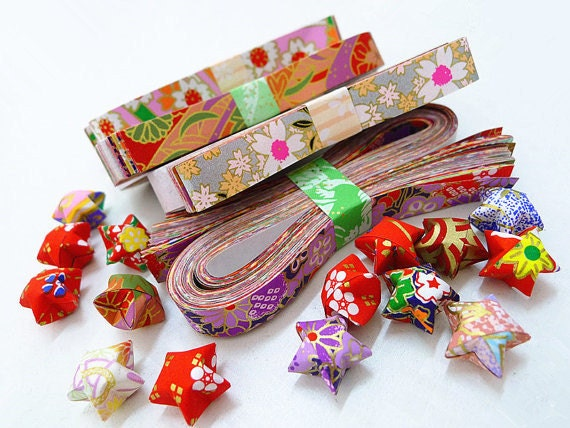 Washi chiyogami origami lucky star paper strips assorted for How to make lucky paper stars
