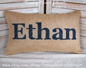 Burlap Name Pillow-Burlap Pillows- Burlap Pillow-Baby Shower Gift- Nursery - Name Pillow- Personalized Pillow- Baby Gift