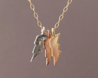Three Tiny Lightning Bolt Necklace Gold Silver or Rose Gold