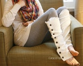 The Miss Molly - off-white Slouchy Button Down leg warmers w/ Ivory Knit Lace - shark tank Legwarmers (item no. 7-16)