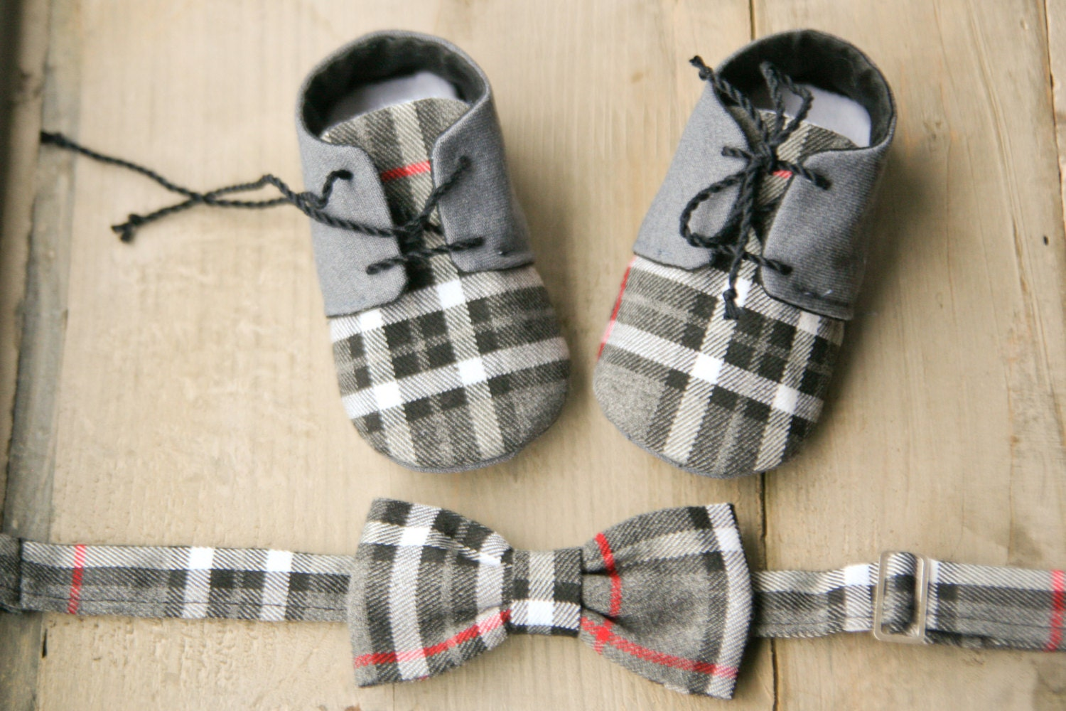 Baby boy t set oxford shoes and bow tie by