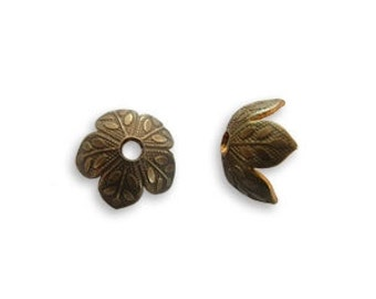Vintaj 8mm Foliage Bead Cap (6)