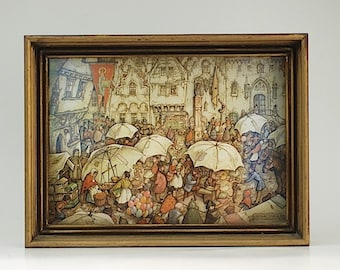 Vintage 3D Anton Pieck Umbrella Village Scene Shadow Box, Mid Century POP Art Wall Decor, Unique Gift For Mom Wife, Fathers Day Gift For Dad