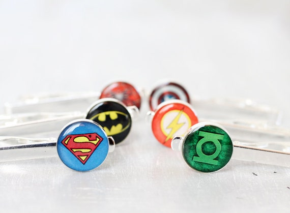 Wedding mens Tie Clips - set of Groomsmen gifts - Comic Superhero - Superman, Batman, Green Lantern, Captain America, Spiderman, Flas