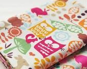 Fat Quarter of Kawaii Japanese Cotton Linen Fabric -  Red Owl Combo
