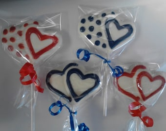 24 Raggie Ann and Raggie Andy INSPIRED chocolate heart lollipops in red and blue