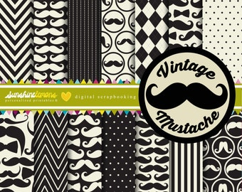 Vintage Mustache Digital Paper Pack - Set of 14 Papers - COMMERCIAL USE Read Terms Below