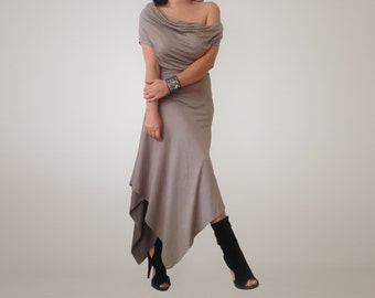 Extravagant Asymmetric Off Shoulder Dress / Loose Dress made from Soft Cotton Viscose