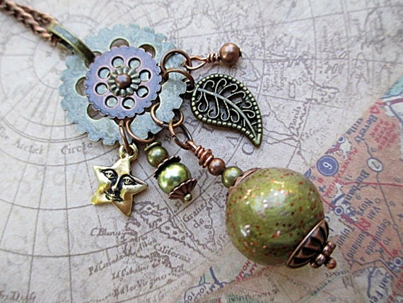 Charm Necklace Green Bead Jewelry Repurposed Long Boho Rustic Mixed Metal Leaf