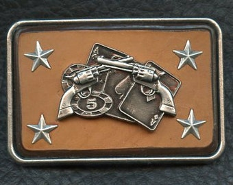 Leather Belt Buckle with Pistols and Stars